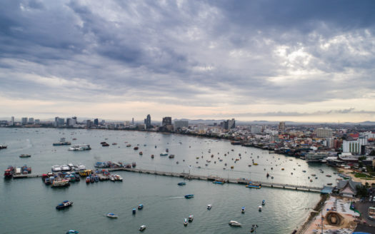 Aerial view of Pattaya beach . Thailand.